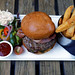 Bacon beefburger and chips at Black Horse Inn Nuthurst West Sussex England