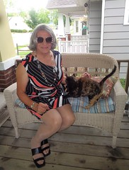 Ariel Is Always Trying To Get Into The Act (Laurette Victoria) Tags: cat porch ariel laurette woman dress gray sunglasses necklace