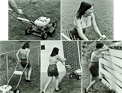 Lawn Ranger (fillzees) Tags: sequence candid girl woman midriff belly shorts haltertop lawnmower mower lawn grass yard fence machine person series bw mowing