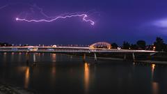Spiegelwaal Lightning (bramtop_1990) Tags: nijmegen lightning thunder onweer bliksem blue hour long exposure spiegelwaal nevengeul waal bridge river trails nightlights nimm nimma tamron 2470mm f28 vc g2 a032n nikon d610 reflection