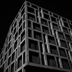 (morbs06) Tags: berlin city windows light bw abstract building texture lines architecture facade square concrete hotel pattern geometry stripes repetition oobaukunst