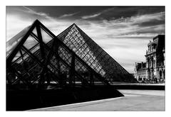 Pyramides (Jean-Louis DUMAS) Tags: travel voyage trip louvre paris architectural architect architecture noiretblanc blackandwhite nb bw