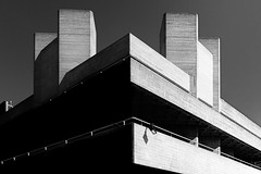 Brutal Theatre (Sean Batten) Tags: london england unitedkingdom southbank brutalist architecture blackandwhite bw light shadow city urban building nationaltheatre fuji fujifilm x100f