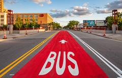 Red Bus Lane on Chicago Avenue, Minneapolis (Tony Webster) Tags: chicagoavenue cityofminneapolis lakestreet metrotransit minneapolis minnesota sheraton brightred buslane freshpaint painted publicworks red unitedstatesofamerica