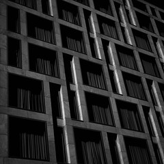 (morbs06) Tags: city windows light bw abstract building berlin texture lines architecture facade square concrete hotel pattern geometry stripes repetition oobaukunst