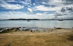 Pulau Ubin Beach (henriksundholm.com) Tags: island ubinisland pulauubin beach sand nature landscape horizon boat ocean strait sea waves water clouds sky reflections hdr singapore southeast asia