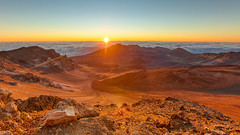 Haleakala Sunrise (lsten) Tags: majestical rock dry crater clearskies calm amazing nature mystical bracketing hills f4 travelphotography theunforgettablepictures rays hdr summer tripod wideangle amateurphotography iconic landscapephotography canoneos5dmarkiv ray sky sharp sunrise goldenhour scenery valley natureview usa naturephotography landscape rocks bracketed cliffs nationalpark mountains haleakalanationalpark overcast sigma14mmf18dghsmart magnificent maui clouds paradise hawaii haleakala colorful serenity beautiful sand iso400 caldera canyon colors 14mm ridge peak golden mountain