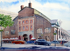 St Lawrence Market, Plein Air, 2019-08-31 (light and shadow by pen) Tags: watercolorlandscapecityscapestlawrencemarket arttoronto