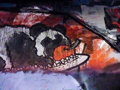 They Ate Pandas (Steve Taylor (Photography)) Tags: panda tray apple food eat cable animal graffiti mural streetart black mauve orange white uk gb england greatbritain unitedkingdom london