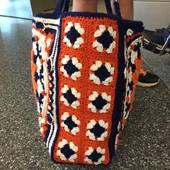 A side cochet panel of ten granny squares (crochetbug13) Tags: ripple crochet blanket crocheted crocheting grannysquares ripplecrochetafghan texturedcrochetbag texturedcrochettote