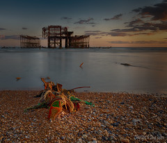 Brighton West Pier Remains (Dave Sexton) Tags: united kingdom uk england east sussex brighton beach sea pebbles pier ruins sunset golden hour panasonic lumix s1r 24105mm f dxo photolab nik hdr efex affinityphoto