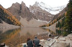 Breathe ...... (Mr. Happy Face - Peace :)) Tags: yyc moments nature snowcaps larchforest fall rockies rockymountains strangers autumn chill contemplation lake alpine canadaparks lakelouise teahouse mirrored reflections bench hbm brilliant wow friends flickrfriends love larch forest trees