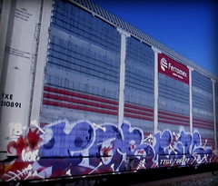 (timetomakethepasta) Tags: fobek hof freight train graffiti art ferromex autorack fxe