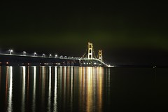 The Might Mac under the Northern Lights (jsiegelphotos) Tags: reflection northernlights auroraborealis bridge mackinacbridge