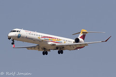 EC-LJS Bombardier CRJ-1000 Air Nostrum Mardrid airport LEMD 14.08-19 (rjonsen) Tags: plane airplane aircraft aviation airliner regional jet flying landing special scheme livery iberia express