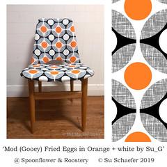 'Mod (Gooey) Fried Eggs in Orange + white by Su_G': Mel's refinished dining chair (Su_G) Tags: modgooeyfriedeggsinorangewhitebysug modgooeyfriedeggsinorangewhite modgooeyfriedeggs orangeandwhite sug mod gooeyfriedeggs eggs friedeggs orange white upholstery spoonflower midcenturymodern midcentury mcm special custom melmackay chair diningchair timberchair mcmchair midcenturymodernchair creative maker 2019 refinishedmcmdiningchair retrocool retro 1950s