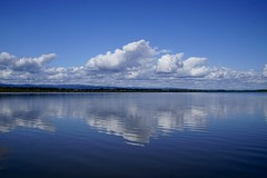 Last days of summer (Mary Ann Whitney-Hall) Tags: water clouds blues reflections summer lake sauvie island oregon