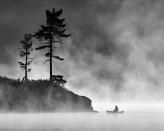 Grundy Lake Morning Mist - 3366 (RG Rutkay) Tags: grundytrip nature nearnorth outdoors grundylake mist fog morning silhouette bw monochromatic tree wilderness kayak person activity grundylakeprovincialpark telephoto outside