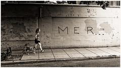 2019/244: MER . . . (Rex Block) Tags: nikon d750 dslr 1835mm wide zoom washington dc street walker female pedestrian grafitti monochrome bw project365 365the2019edition 3652019 day244365 01sep19 ekkidee 2019244mer