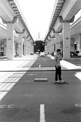 7.27.19_MCW_HP5-4 (arterial spray) Tags: 35mm 400 bw bayarea black boxspeed building ca california curb dalliswillard dalliswillardphotography embarcadero f100 film hp5 ilford nikon sanfrancisco session sf siliconvalley skate skateboarding skater skyline slappy transamerica white
