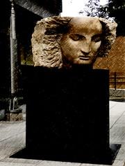 Stoney Faced (Steve Taylor (Photography)) Tags: art digitalart sculpture bust carving black brown grey sad stone man uk gb england greatbritain unitedkingdom london texture bankside carluccios emilyyoung face head neo tatemodern