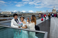 Wedding shoot (jeremyhughes) Tags: london millenniumbridge weddingshoot bride gown bridal groom suit suited stpauls bridge 28mm ricohgrd ricoh city veil bouquet candid people couple outdoor tiara