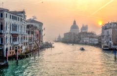 Misty Morning Sunrise (photofitzp) Tags: accademia grandcanal italy pastel santamariadellasalute venice foggy misty soft water sunrise