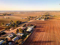 Approaching Mildura airport (Marian Pollock) Tags: victoria mildura airport farms arid fromabove australia houses perspective shadows sunset flying city outback dry