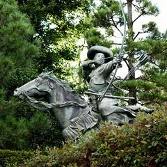 Horseback archery (Abhay Parvate) Tags: statue archery horseback waseda 早稲田 穴八幡宮 神社 東京 anahachimangu shrine tokyo japan city cityscape