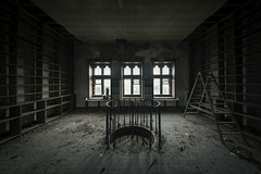 'Open library'....[Explore] (Taken By Me Photography) Tags: abandoned adventure building buildings closed creepy centre corridor church derelict decay dark d750 explore exploring empty eerie forgotten floor gone hall left lancashire nikon neglect north news old open ruin religion religious shut school stairs seminary josephs takenbyme takenbymephotography urbex urban ue uk upholland wwwtakenbymephotographycouk window walls book books library ladder