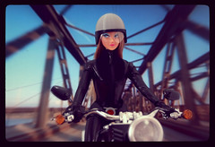 Motorcycle Girl (criscrash13) Tags: anouk doll poupee retro fashiondoll sixties mod leather motorcycle harleydavidson