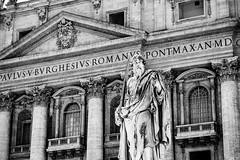 St Paul - In Front of Basilica (yorgasor) Tags: nikon sony a7r2 a7rii ais 180mm catholic vatican vaticancity statue stpetersbasilica italy rome