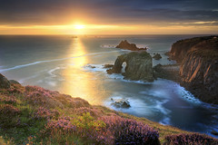 Landsend Sunset (Bernhard Sitzwohl) Tags: sunset landsend cornwall uk landscape sea coast cliffs heather sunrays sunburst coastline nature cornish outdoor ocean wildflower