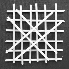 Inelegant stack of spaghetti B&W (Monceau) Tags: spaghetti round stack handmade blackandwhite monochrome square pasta macromondays crosscross x diagonal lattice