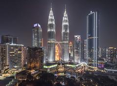 Petronas Towers (Camera_Shy.) Tags: twin skyscrapers tall building nightime dark urban cityscape light city landscape night bright kuala lumpur malaysia travel