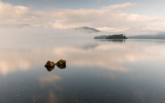 Calfclose Bay (alanwsmithphotography) Tags: lakedistrict lake water derwentwater kasefilters nikon d750 nikkor landscape nature naturephotography outside sunrise morning trees clouds fog mist reflection reflections rocks