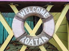 Roatan-WestTown-Welcome (lelizard) Tags: cruise ncl breakaway westerncaribbean roatan honduras sign westtown shopping town port