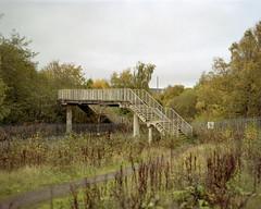 Bridge near Zeneca plant, Huddersfield, 2017 (BennehBoy) Tags: 5x4 film 000466 speedgraphic graflex jobo fujifilm 160ns expired digibase bridge topographics