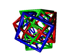 POV-ray: 3 Crossed Square Antiprisms (Byriah Loper) Tags: origami origamimodular modularorigami modular byriahloper byriah paperfolding paper polygon polyhedron square
