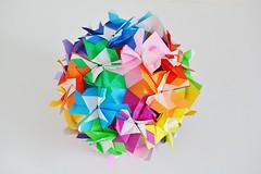 Butterflies Kusudama (Byriah Loper) (Byriah Loper) Tags: origami origamimodular modularorigami modular byriahloper byriah paperfolding paper polygon polyhedron square