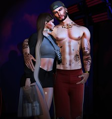 JUST GETTING TOGETHER (by Any Bergan) Tags: foxy kustom9 vobe addams kinky majesty kibitz movement mancave dufaux rozoregalia dappa exalted couple couplesl secondlife sl blogger blog fashion style drink