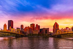 Sunset over Pittsburgh, Pennsylvania (josephzmuda2) Tags: nopeople tourism nightscape mood traveldestination waterfront skyline goldenhour sundown dusk sunset alleghenyriver urban modern city skyscape clouds sky summer day northamerica pennsylvania 5dsr northshore pittsburgh allegheny architecture bluehour bridge bridges buildings cityscape color downtown river water