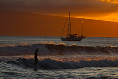 Surfing in Maui at sunset (Robin Wechsler) Tags: