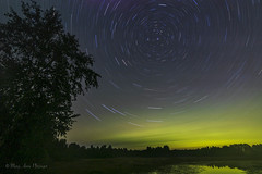 Midnight Trails over Rush Lake (maryanne.pfitz) Tags: landscape nature nightscape birchtree rushlake boulderjunction wisconsin vilascounty stars startrails water refleciton auroraborealis northernlights mapstartrails1652 lake maryannepfitzinger