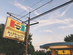 harrigan's soft ice cream (Anthony.Vitale) Tags: newyork sign advertising typography adirondacks icecream pepsi iphone iphonex shotoniphone sunset lines dusk pole wires blue