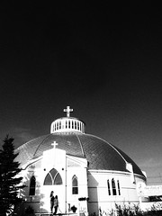 Igloo Church Inuvik BW (oneofmanybills) Tags: igloo church inuvik northwestterritories canada dempsterhighway bw olympus micro43 arctic