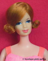 VINTAGE MOD STACEY SHORT FLIP RED HAIR BARBIE DOLL w/ BABY DOLL PINK OUTFIT (laika*2008) Tags: vintage mod stacey short flip red hair barbie doll w baby pink outfit mattel japan original fashiondoll