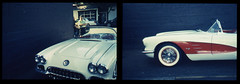 Fully Vetted (Robert Drozda) Tags: portland oregon northportland overlookneighborhood car classiccar chevrolet corvette musclecar sportscar cherry 1960svintage convertible retrochrome400 colorslidefilm diptych filmphotographyproject 35mmslide colortransparency olympusstyluszoom drozda