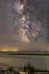 Milky Way view from seaside (james c. (vancouver bc)) Tags: ocean park sea summer sky orange canada reflection beach nature water grass yellow rock night vancouver outdoors island star coast sand bc pacific outdoor britishcolumbia background space cluster peaceful atmosphere twinkle science richmond driftwood stellar galaxy universe starry infinite constellation milkyway garrypointpark starfield