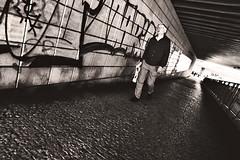 Uneasy Prague (kirstiecat) Tags: street blackandwhite canon graffiti prague noiretblanc prag tunnel praha stranger uneasy anxiety sreetart czechia monochrome monochromemonday czechrepublic